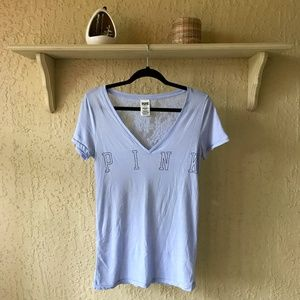 PINK Light Blue V-Neck T-Shirt